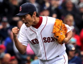 Boston Red Sox relief pitcher Koji Uehara was pumped as he got the last out in a 123 ninth inning as the Boston Red Sox hosted the Tampa Bay Rays at...