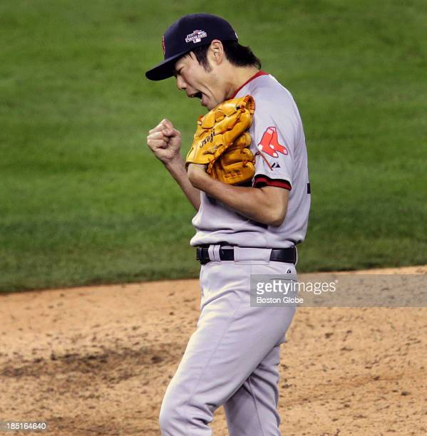 Boston Red Sox relief pitcher Koji Uehara was pumped to get the last out after a battle with Detroit Tigers shortstop Jose Iglesias in the ninth...