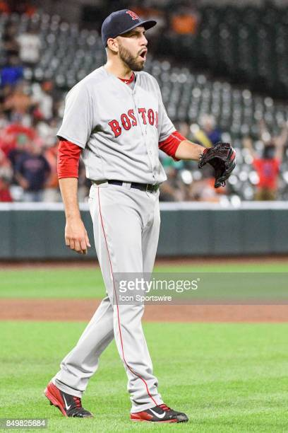 Boston Red Sox relief pitcher Matt Barnes reacts after earning the save during an MLB game between the Boston Red Sox and the Baltimore Orioles on...