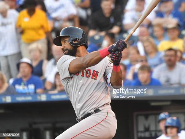 Boston Red Sox right fielder Chris Young singles in the first inning during a MLB game between the Boston Red Sox and the Kansas City Royals June 20...