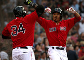 Boston Red Sox right fielder Mookie Betts celebrates his leadoff home run with Boston Red Sox designated hitter David Ortiz during the first inning...