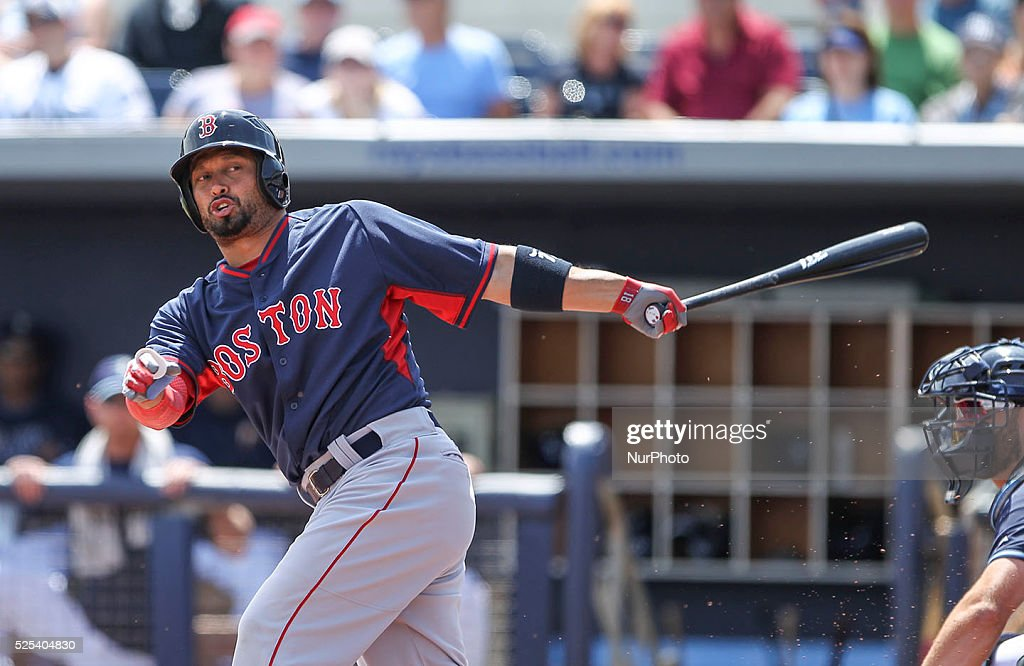 Boston Red Sox right fielder Shane Victorino bats during the first inning of a Spring Training game against the Tampa Bay Rays Saturday March 28 2015...