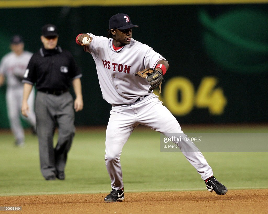Boston Red Sox rookie, <a gi-track='captionPersonalityLinkClicked' href=/galleries/search?phrase=Hanley+Ramirez&family=editorial&specificpeople=538406 ng-click='$event.stopPropagation()'>Hanley Ramirez</a> makes the throw on to first for the out in Tuesday night's game against the Tampa Bay Devil Rays at Tropicana Field in St. Petersburg, Florida on September 20, 2005.