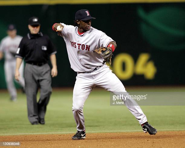 Boston Red Sox rookie Hanley Ramirez makes the throw on to first for the out in Tuesday night's game against the Tampa Bay Devil Rays at Tropicana...