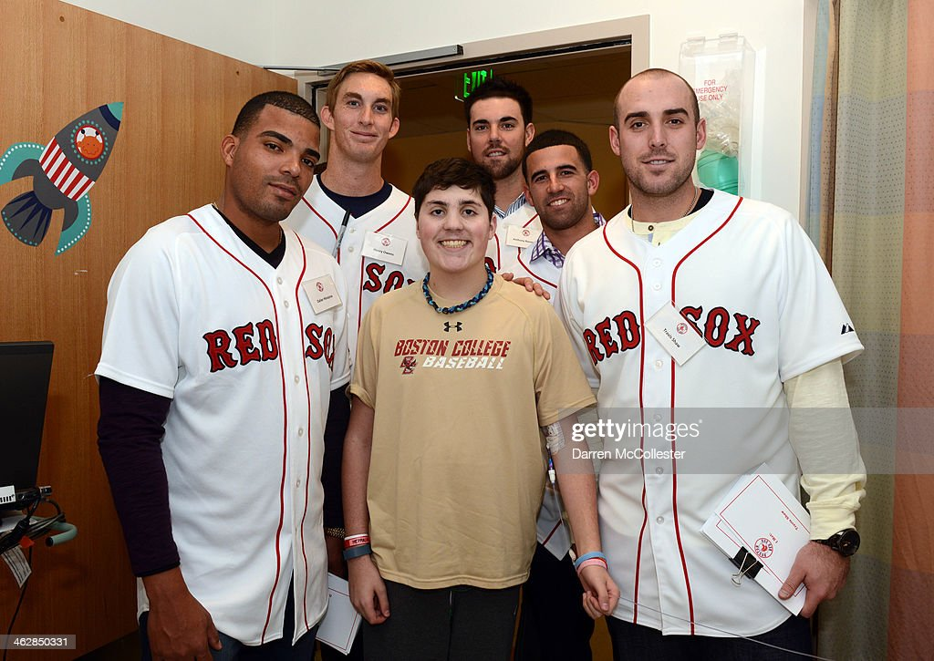 Boston Red Sox rookies Dalier Hinojosa, Henry Owens, Anthony Ranaudo, Deven Marrero, and Travis Shaw hang with Connor at Boston Children's Hospital on January 15, 2014 in Boston, Massachusetts.