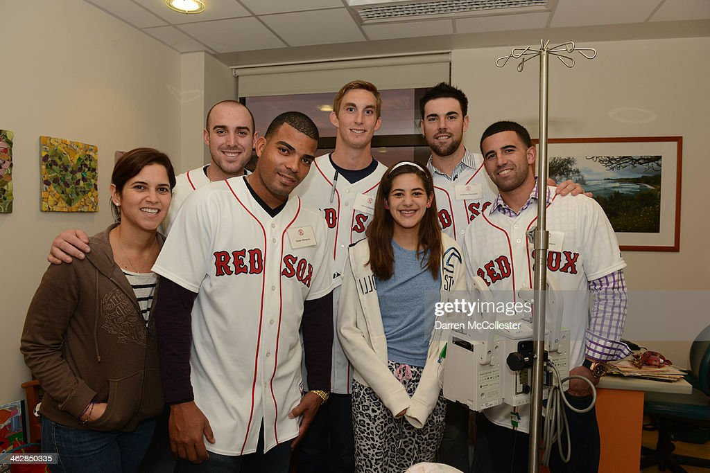 Boston Red Sox rookies Travis Shaw, Dalier Hinojosa, <a gi-track='captionPersonalityLinkClicked' href=/galleries/search?phrase=Henry+Owens&family=editorial&specificpeople=680587 ng-click='$event.stopPropagation()'>Henry Owens</a>, Anthony Ranaudo, and Deven Marrero hang with Nicole and Mom at Boston Children's Hospital on January 15, 2014 in Boston, Massachusetts.