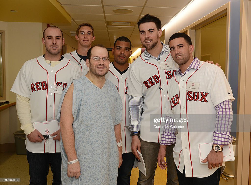 Boston Red Sox rookies Travis Shaw, Henry Owens, Dalier Hinojosa, Anthony Ranaudo, and Deven Marrero hang with Evan at Boston Children's Hospital on January 15, 2014 in Boston, Massachusetts.