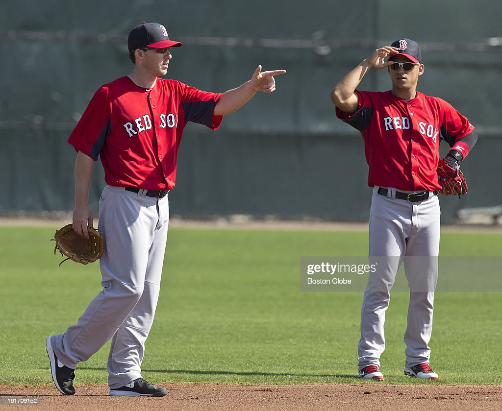 Boston Red Sox shortstops Stephen Drew, left, and Jose Iglesias. Day two of spring training at the Red Sox training facilities at JetBlue Park on Wednesday, Feb. 13, 2013.