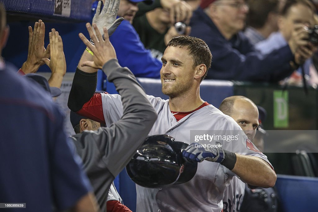 Boston Red Sox slugger Will Middlebrook get high fives after his 3 rd home run of the game. Final score 13-0 as the Toronto Blue Jays loose to the Boston Red Sox at The Rogers Centre.