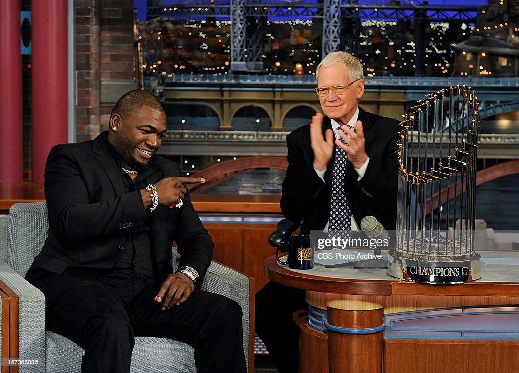 Boston Red Sox star and 2013 World Series MVP David Ortiz visits the Late Show with David Letterman Monday Nov. 4, 2013 on the CBS Television Network.