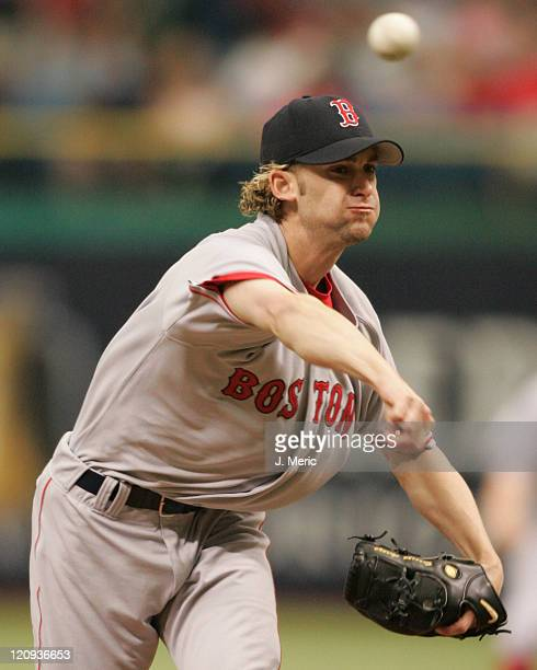 Boston Red Sox starting pitcher Bronson Arroyo makes a pitch in the first inning of Sunday's game against the Tampa Bay Devil Rays on April 24 2005...