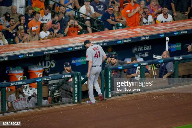 Boston Red Sox starting pitcher Chris Sale exits the game in the sixth inning during game one of American Division League Series between the Houston...