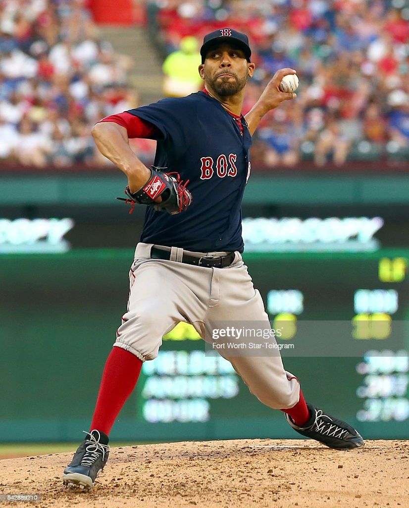 Boston Red Sox starting pitcher David Price works the third inning against the Texas Rangers at Globe Life Park in Arlington, Texas, on Friday, June 24, 2016.