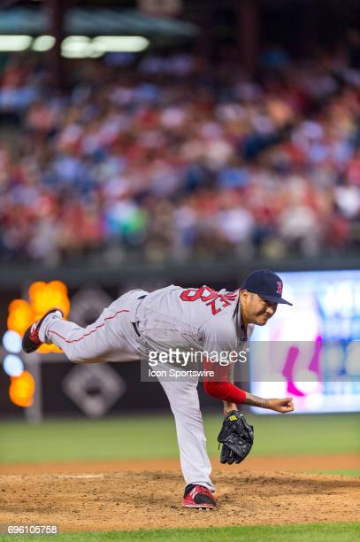 Boston Red Sox starting pitcher Hector Velazquez releases his pitch during the Major League Baseball game between the Boston Red Sox and the...