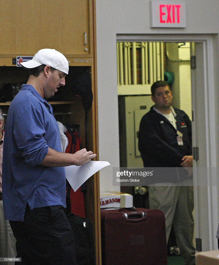 Boston Red Sox starting pitcher John Lackey (#41) left the Red sox clubhouse quickly once the media were let in and made no comments.