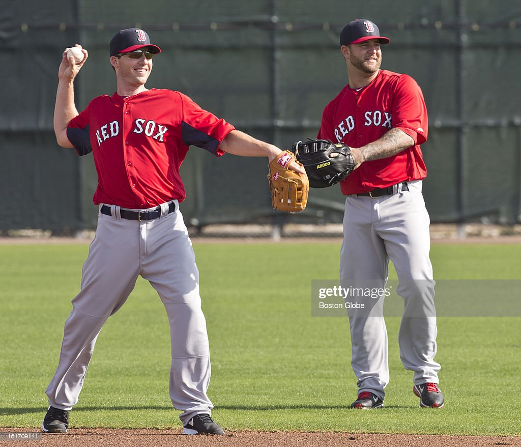 Boston Red Sox Stephen Drew, left, and Mike Mapoli. Day two of spring training at the Red Sox training facilities at JetBlue Park on Wednesday, Feb. 13, 2013.