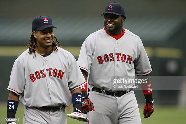 Boston Red Sox' teammates Manny Ramirez and David Ortiz enjoy a laugh prior to the game against the Chicago White Sox July 7 2006 at US Cellular...