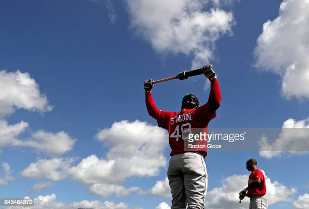Boston Red Sox third baseman Pablo Sandoval and Boston Red Sox outfielder Chris Young loosen up before taking live batting practice during the day's...