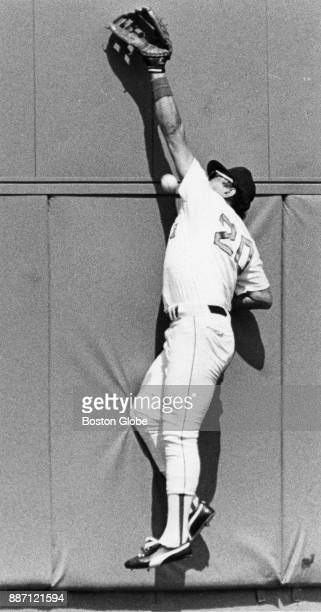 Boston Red Sox Tony Armas attempts to catch a double hitter during a game against the New York Yankees at Fenway Park in Boston Aug 10 1985
