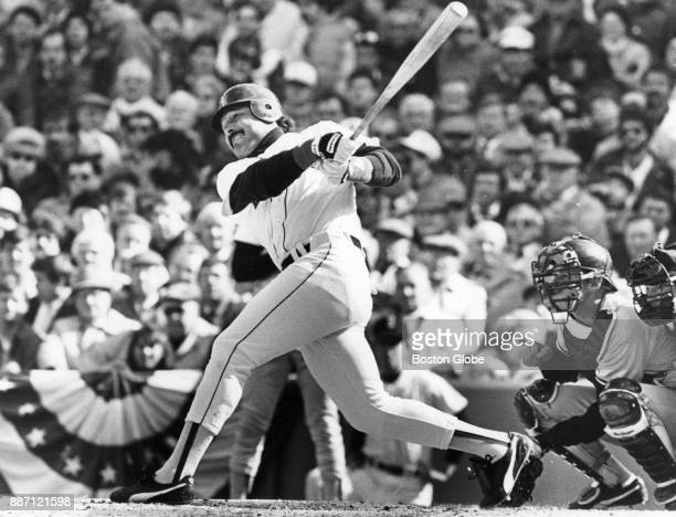 Boston Red Sox Tony Armas hits a tworun homer during a game against the New York Yankees at Fenway Park in Boston April 8 1985