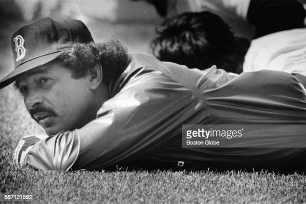 Boston Red Sox Tony Armas lies on the grass during a workout session at Fenway Park in Boston April 7 1985