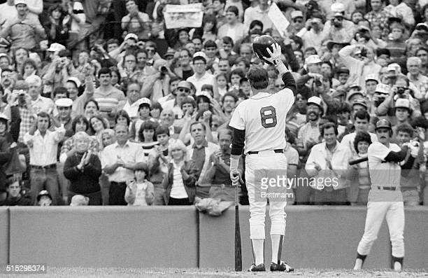 Boston Red Sox veteran and star Carl Yastrzemski waves to fans at Fenway Park during the last game of his illustrious career Yastrzemski who has...