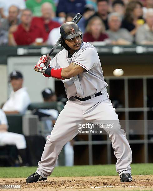 Boston Red Soxs' Manny Ramirez waits on a ball in game action at US Cellular Field in Chicago Illinois Thursday July 21 2005 Boston Red Sox over the...