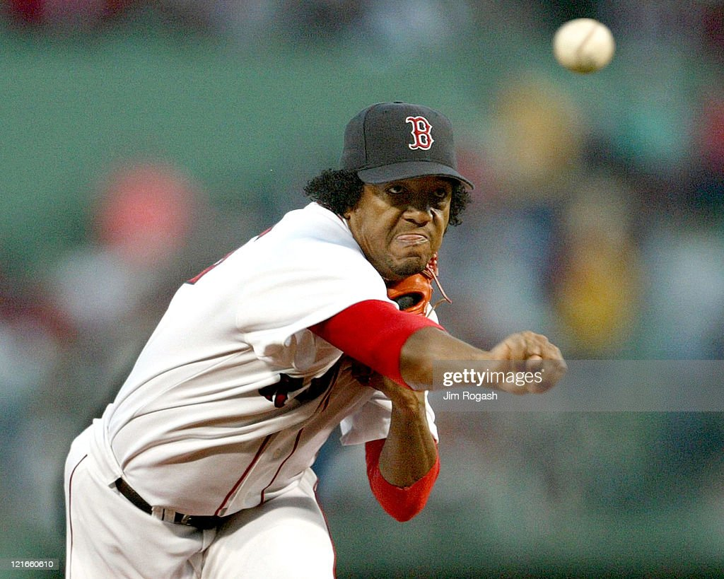 Boston Red Sox's <a gi-track='captionPersonalityLinkClicked' href=/galleries/search?phrase=Pedro+Martinez&family=editorial&specificpeople=171773 ng-click='$event.stopPropagation()'>Pedro Martinez</a> throw against the Los Angeles in the first inning at Fenway Park in Boston, Saturday, June 13, 2004.