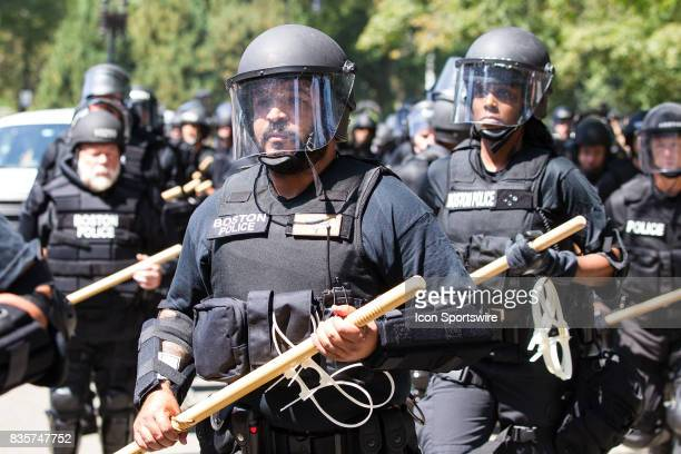 Boston Riot Police during the Free Speech Rally on August 19 at Boston Commons in Boston MA
