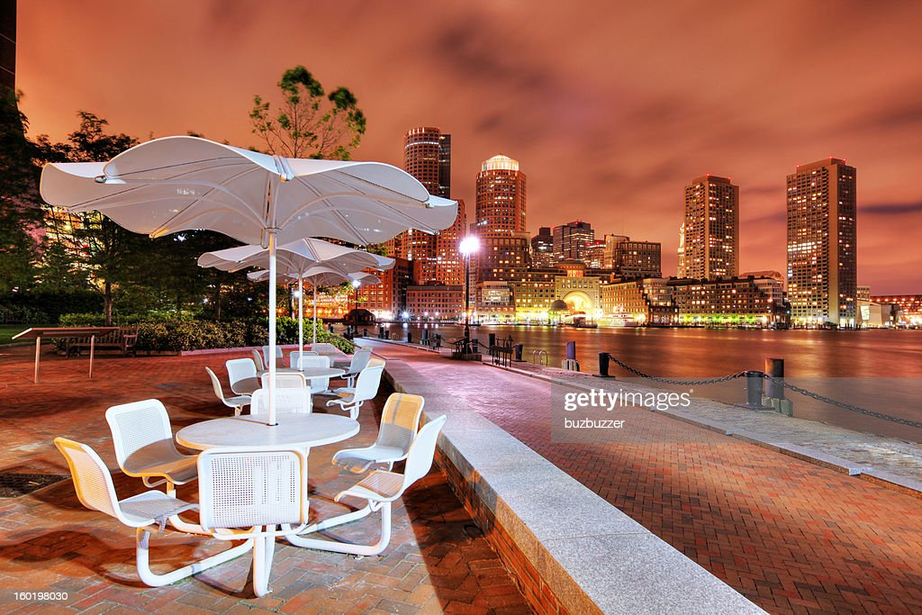 Boston Riverside Terrace at Night : Stock Photo