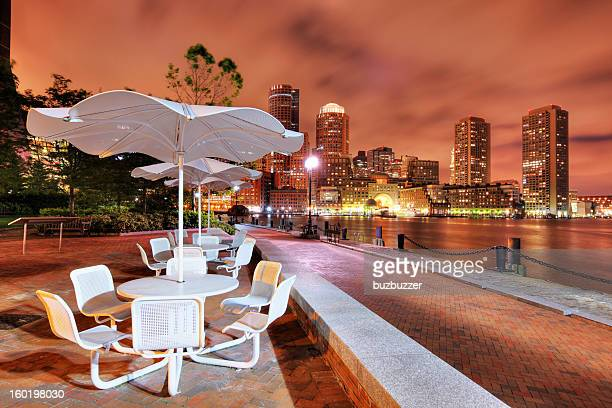 Boston Riverside Terrace at Night