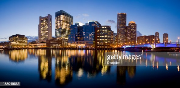 Boston City Skyline at Night USA