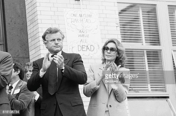 Senator Edward M Kennedy and actress Lauren Bacall applaud as they share the platform with other entertainers and several U S Representatives at a...