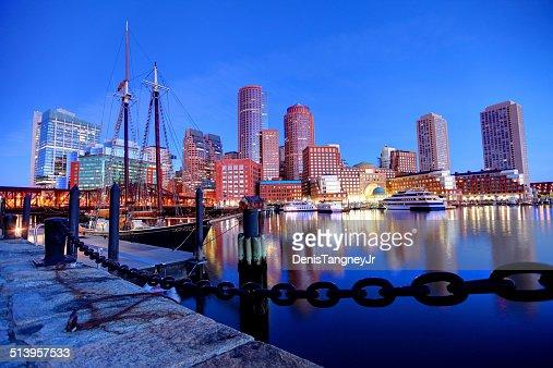 Toits de Boston, le long de la promenade du port