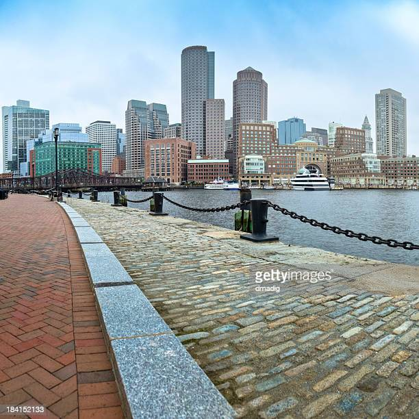 Boston Skyline and Fan Pier's Brick-Paved HarborWalk