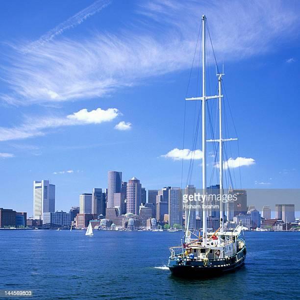 Boston skyline and sailboat, Massachusetts, USA