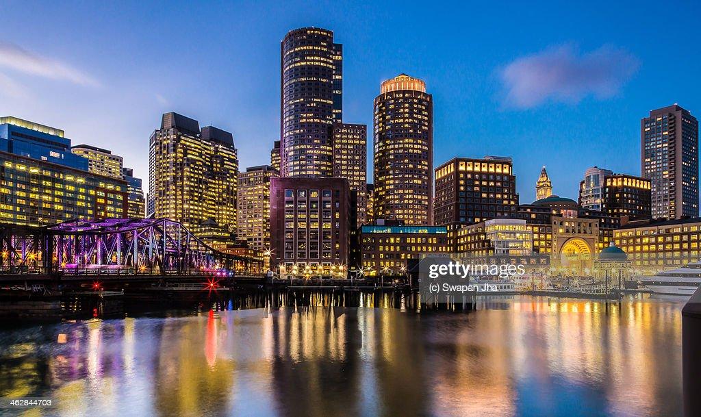 Boston Skyline at Sunset : Stock Photo