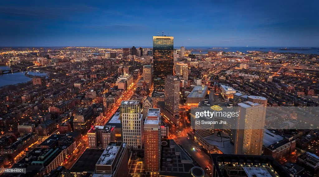 Boston Skyline from the Prudential Observaatory : Stock Photo
