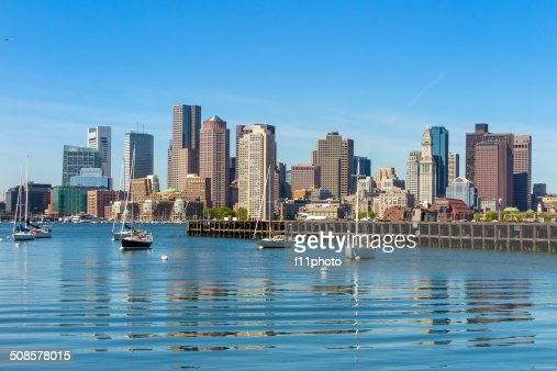 Boston skyline seen from Piers Park, Massachusetts : Stock Photo