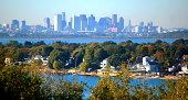 Boston city skyline vista from Great Hill Park in Weymouth, Massachusetts.
