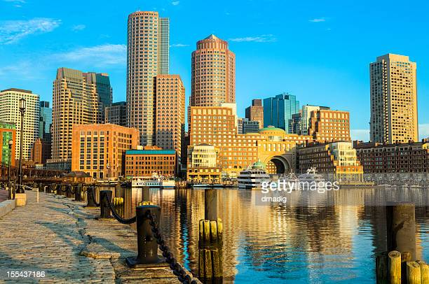 Boston Sunrise over Golden Skyscrapers and Buildings