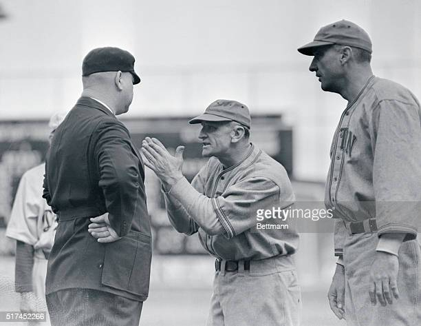 Boston team manager Casey Stengel argues with Umpire Magerkurth during a game between the Boston Bees and the Brooklyn Dodgers