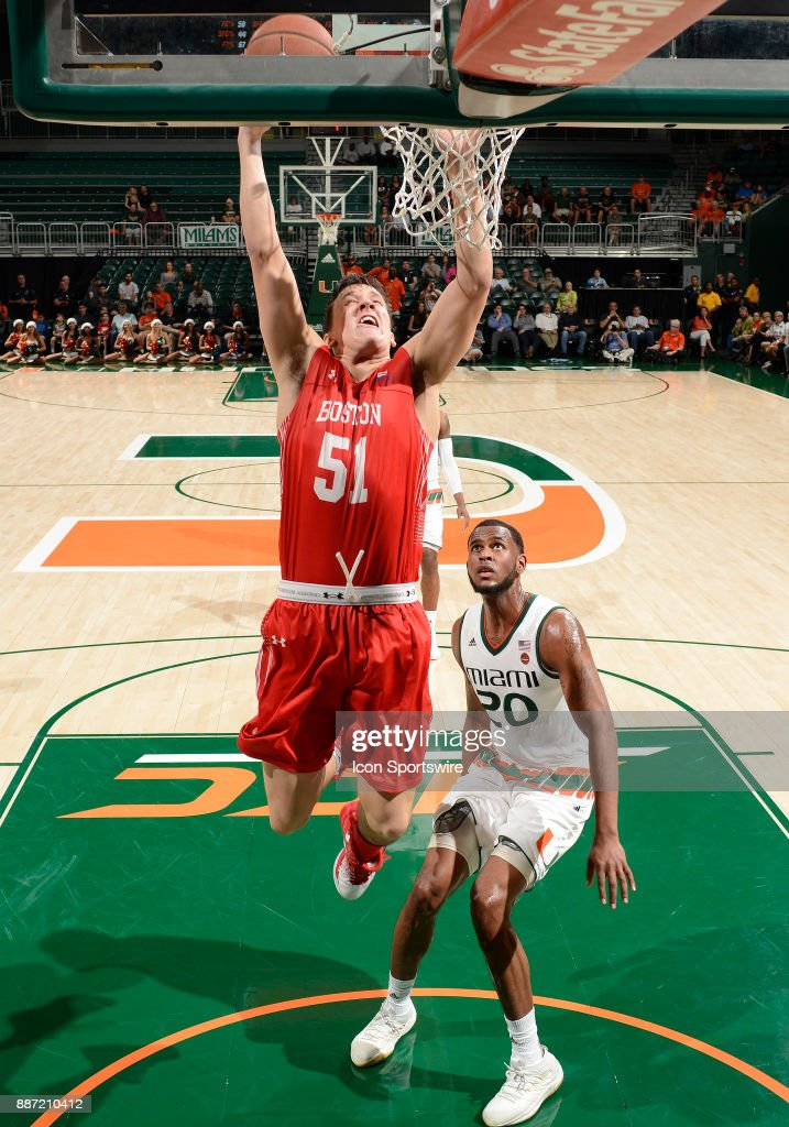 Boston U forward Max Mahoney (51) shoots during a college basketball game between the Boston University Terriers and the University of Miami Hurricanes on December 5, 2017 at the Watsco Center, Coral Gables, Florida. Miami defeated Boston U