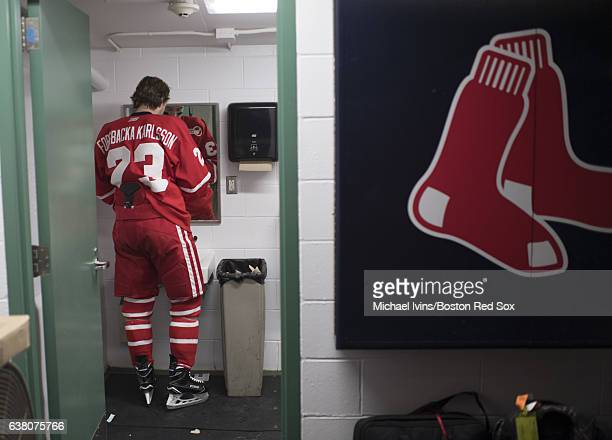 Boston University Terrier Jakob Forsbacka Karlsson prepares to take the ice against the University of Massachusetts Minuteman at Fenway Park on...