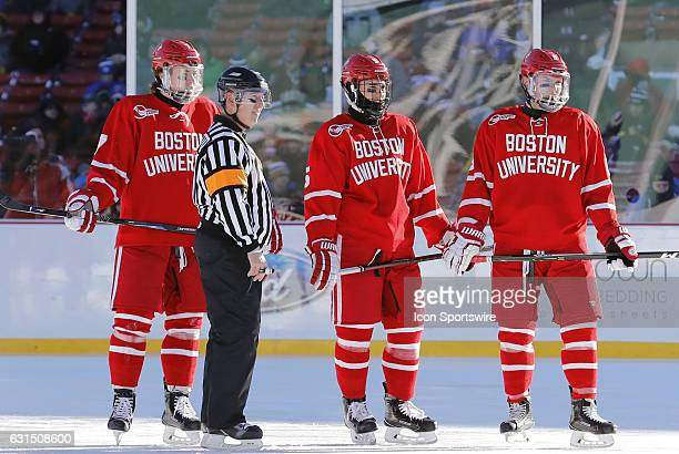 Boston University Terriers defenseman Carlie McAvoy Boston University Terriers defenseman Chad Krys and Boston University Terriers forward Kieffer...