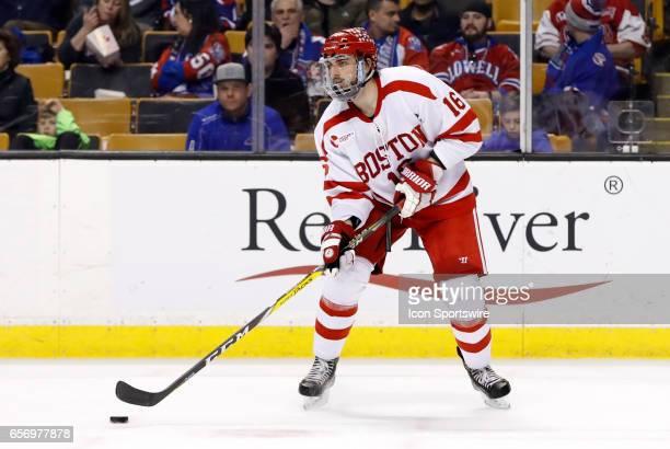 Boston University Terriers defenseman John MacLeod during a Hockey East semifinal between the Boston University Terriers and the Boston College...