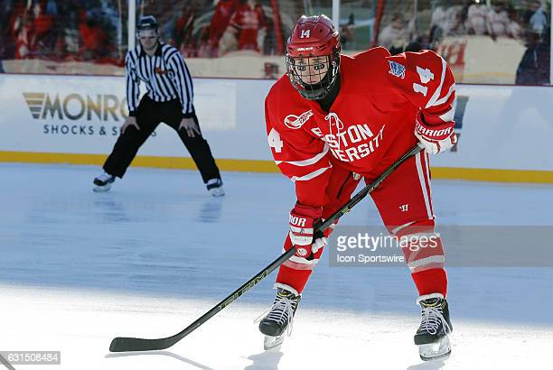 Boston University Terriers forward Bobo Carpenter waits for a face off during a Frozen Fenway NCAA Men's Division 1 hockey game between the Boston...