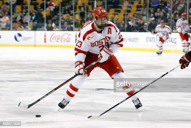 Boston University Terriers forward Jakob Forsbacka Karlsson during a Hockey East semifinal between the Boston University Terriers and the Boston...