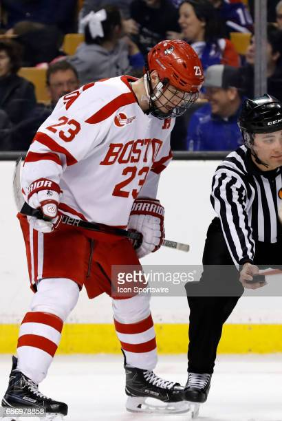 Boston University Terriers forward Jakob Forsbacka Karlsson moves in for a face off during a Hockey East semifinal between the Boston University...