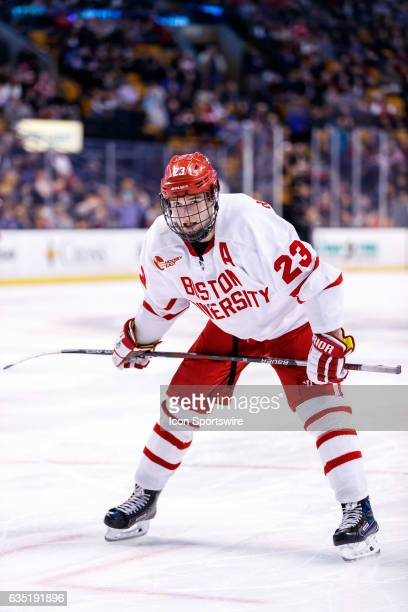 Boston University Terriers forward Jakob Forsbacka Karlsson waits for a faceoff during the third period of the Beanpot Tournament championship game...